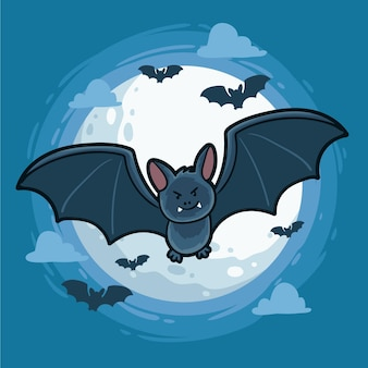 손으로 그린 디자인 할로윈 박쥐