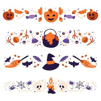 Hand drawn design halloween border collection