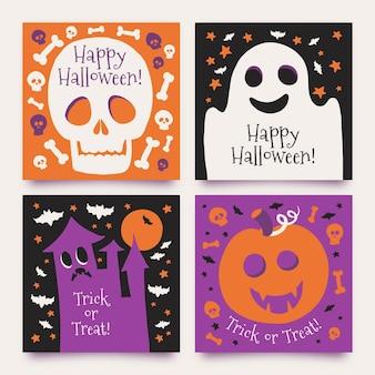 Hand drawn design halloween card collection