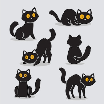 Hand drawn design halloween cat collection
