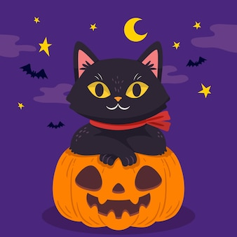 Hand drawn design halloween cat