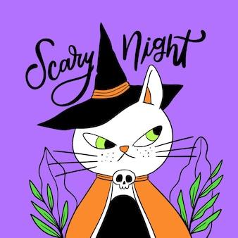 Hand drawn design halloween cat