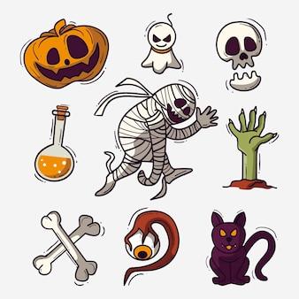 Hand drawn design halloween element collection