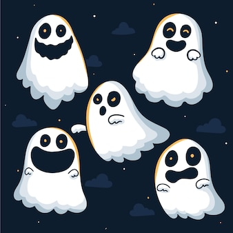Hand drawn design halloween ghost collection