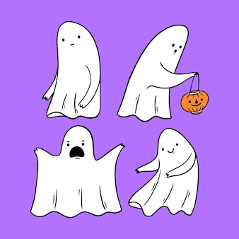 Hand drawn design halloween ghost set