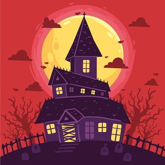 Hand drawn design halloween house