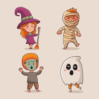 Collezione di bambini halloween disegno disegnato a mano