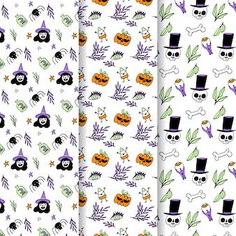 Ручной обращается дизайн хэллоуин узоры