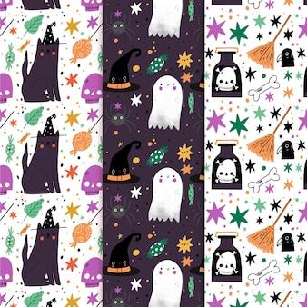 Hand drawn design halloween patterns