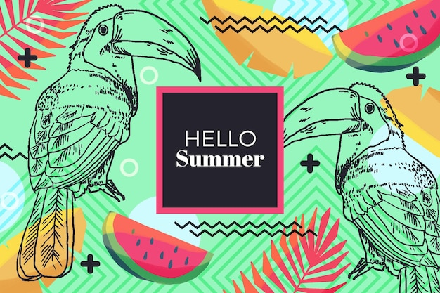 Hand drawn design hello summer