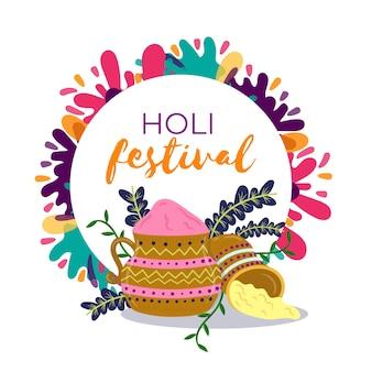 Ручной обращается дизайн фестиваля холи с пятнами