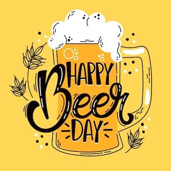 Giornata internazionale della birra design disegnato a mano