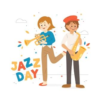 Giornata internazionale del jazz design disegnato a mano