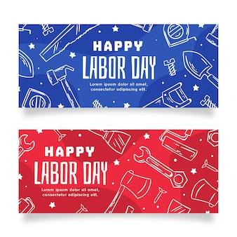 Hand drawn design labor day banners