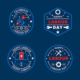 Hand drawn design labour day labels