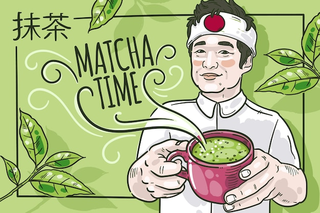 Hand drawn design matcha tea background