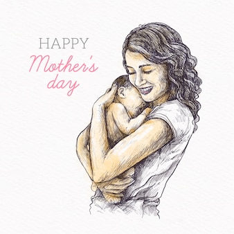 Hand drawn design mother's day