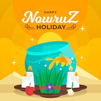 Hand drawn design nowruz celebration