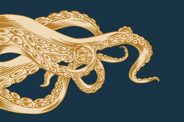 Hand drawn design octopus tentacles