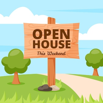 Hand drawn design open house sign
