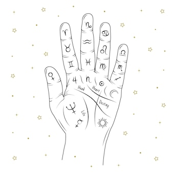 Hand drawn design palmistry symbol