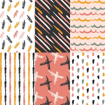 Hand drawn design pattern collection