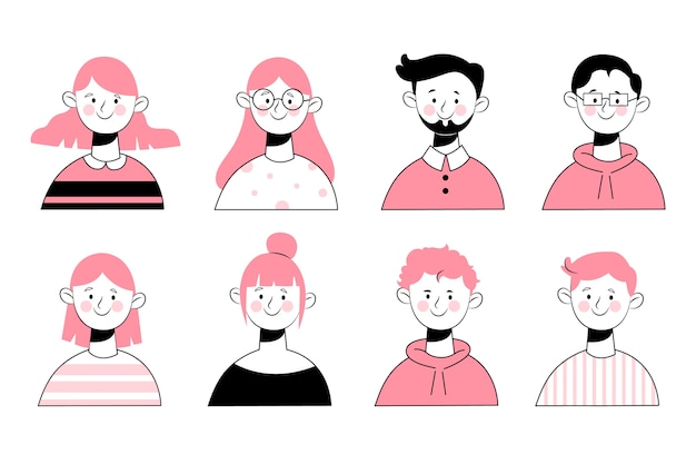 Hand drawn design people avatars