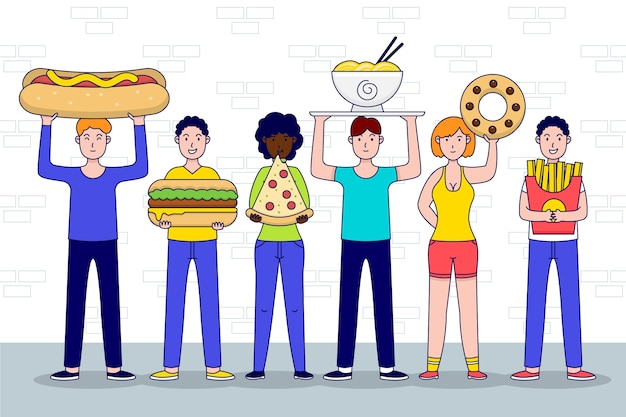 Hand drawn design people with food