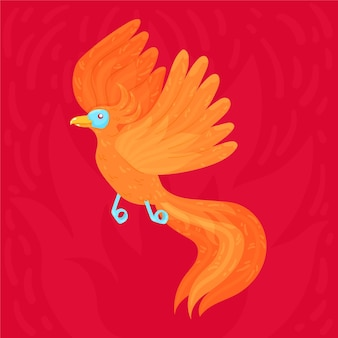 Hand drawn design phoenix bird