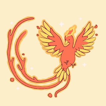 Hand drawn design phoenix