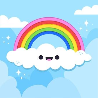 Arcobaleno di disegno disegnato a mano con nuvola