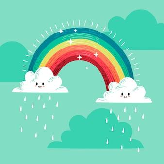 手描きデザインの虹