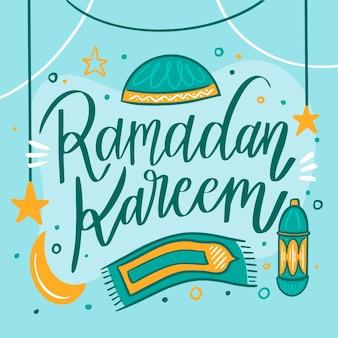 手描きデザインのラマダンのお祝い