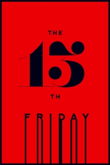 Hand drawn design in red and black color. horror typography for party holiday 13th, friday