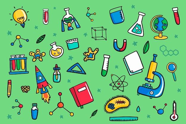 손으로 그린 된 디자인 과학 배경
