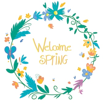 Hand drawn design spring floral frame