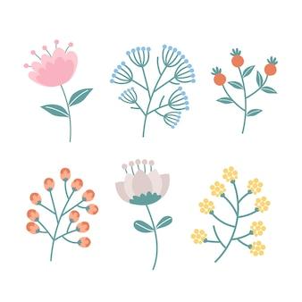 Hand drawn design spring flower collection
