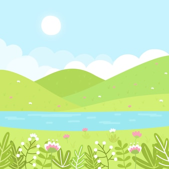 手描きデザインの春の風景