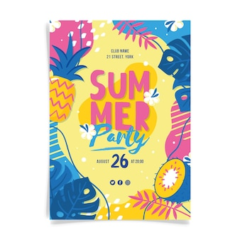 Hand drawn design summer party poster
