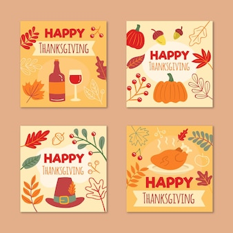 Hand drawn design thanksgiving instagram posts