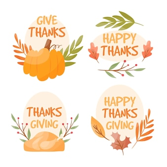 Hand drawn design thanksgiving labels