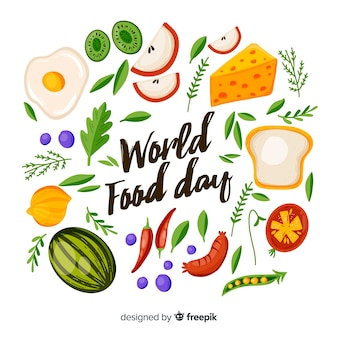 Hand drawn design with world food day event