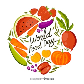 Hand drawn design with world food day