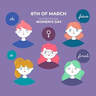 손으로 그린 디자인 여성의 날 축하 무료 벡터