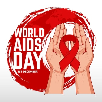 Hand drawn design world aids day