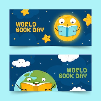 Hand drawn design world book day banners