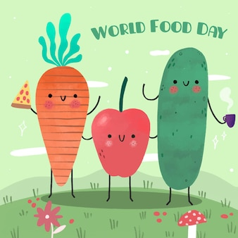 Hand drawn design world food day event
