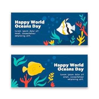 Bandiera di giornata mondiale degli oceani design disegnato a mano