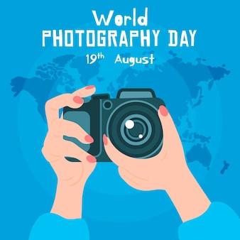 Ручной обращается дизайн всемирный день фотографии