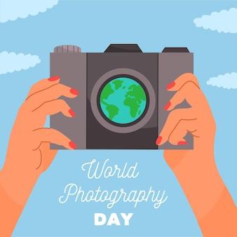 手描きデザインの世界写真の日